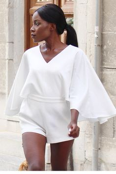 4d0fc34e1e86 Discover this look wearing White Cape Sleeves Chicwish Rompers - White Hot  August by ChicGlamStyle styled for Chic