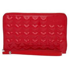SPECIAL PROJECTS Embossed Solid Heart Zip Phone Wristlet ($175) ❤ liked on Polyvore featuring accessories, tech accessories, red wristlet, red leather wristlet, zip wristlet, leather wristlet and iphone wristlet