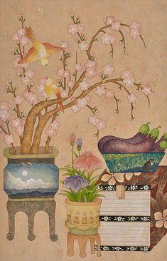 꿈과 여행이야기를 담은 6폭 연작 중 3/6번째 그림. Pigment and Gold Leaf on Mulberry Paper 39x58cm x 6pcs 2018 all rights reserved. www.seohana.com