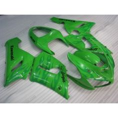 Kawasaki NINJA ZX6R 2005-2006 Injection ABS Fairing - Flame - Green | $639.00