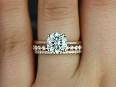 Skinny Flora 8mm, Petite Bubble Breathe, & Kimberly 14kt FB Moissanite and Diamonds Wedding Set (Other metals and stone options available)