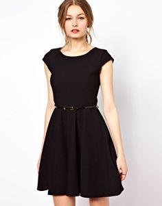 ASOS - A Wear Textured Skater Dress With Belt