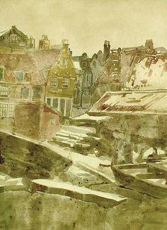 Schets voor 'Scheepswerf aan de Bickersgracht, 1902 Aquarel op papier George Breitner' – Kröller-Müller Museum