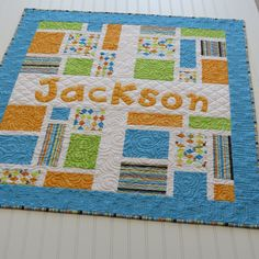Personalized Baby Quilt with Name Applique Fabric Letters