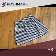 Lightweight GAP checked skirt Navy and white checkered. Side zip. Sheer, light fabric with navy blue attached slip. GAP Skirts Mini