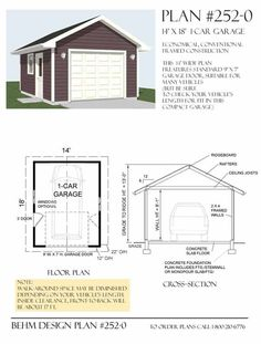 One car garage plan has hard to find reduced depth dimension. Use for vehicles of under  17' ft length. Behm Design offers many odd dimensioned basic garage plans.