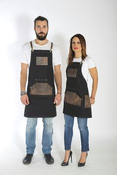 Fabric apron made of specially processed canvas with a kangaroo pocket, offering 7 more high quality leather cases for your tools. It ties with detachable leather suspenders and waistband. It comes in 4 unique fabric-leather variations and you can fully customize it to match your
