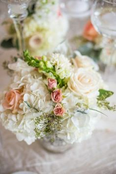 Virginia Wedding Pink and White Floral 275x411 Romantic and Elegant Wedding Reception in Virginia: Kristen + Chris