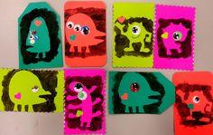monster stencils, monster kids crafts, monster valentines