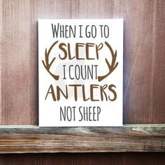 When I Go To Sleep I Count Antlers Not Sheep Custom Hand Painted Canvas, Rustic Kids Room, Little Hunter