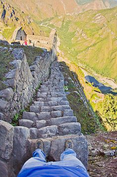 At Machu Picchu, 600 feet or so of steep, slippery, cloud-covered granite rocks the Inca carved more than 500 years ago lead to the rarely visited Moon Temple—and a spectacular view of the ruins. Oh The Places You'll Go, Places To Travel, Places To Visit, Peru Travel, Travel And Leisure, Huayna Picchu, Inka, Adventure Is Out There, Bolivia