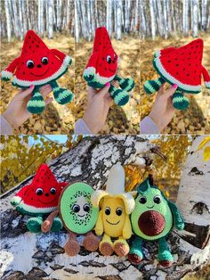 CROCHET WATERMELON PATTERN, Amigurumi watermelon slice with eyes and hands, Plush Soft toy Fruits