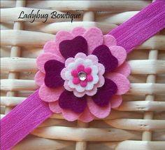 Girls Wool Felt Flower Hair Clip or Headband - Berry