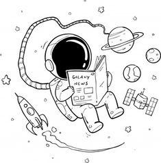 Space Drawings, Cool Art Drawings, Doodle Drawings, Art Drawings Sketches, Easy Drawings, Astronaut Cartoon, Astronaut Drawing, Astronaut Illustration, Doodle Art