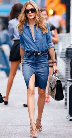 Olivia Palermo wears double denim with button down denim shirt and split denim skirt with nude cage heels Denim Skirt Outfit Summer, Jean Skirt Outfits, Casual Skirt Outfits, Denim Mini Skirt, Stylish Outfits, Summer Outfits, Demin Dress Outfit, Denim Pencil Skirt Outfit, Mini Skirts