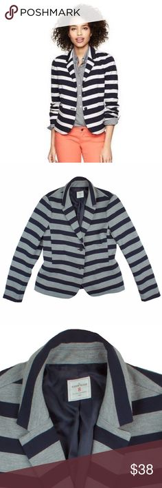 """GAP Navy & Gray Ponte Knit Academy Blazer Jacket Excellent condition! This navy and gray stripe pinte knit Blazer from THE GAP features button closures and is fully lined. Made of a viscose/polyester/Lycra blend. Measures: bust: 38"""", total length: 24"""", sleeves: 25"""" GAP Jackets & Coats Blazers"""