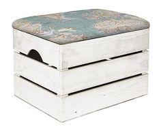 Caja de madera con acolchado de algodón Mapamundi