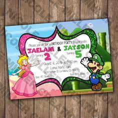 Mario Bros Princess Peach Birthday Party Invitation Printable File