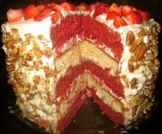 Piece, Love, & Cooking: Red Velvet Strawberry Shortcake Layer Cake with Cream Cheese Frosting