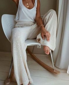 Summer Fashion Tips Solid Ribbed Casual Wide Leg Pants - shopingnova.Summer Fashion Tips Solid Ribbed Casual Wide Leg Pants - shopingnova Mode Outfits, Fall Outfits, Casual Outfits, Comfortable Outfits, Jean Outfits, Hijab Casual, Club Outfits, White Outfits, Night Outfits