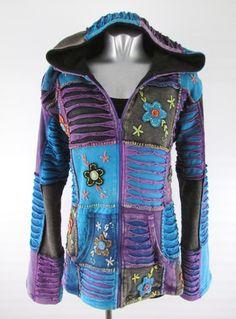 hippy-coat-bohemian-multicoloured-patchwork-hooded-jacket-lined-cotton...