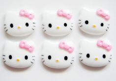 25mm Hello Kitty with Pink Bow Cabochons  6 pc by sweettoffee13, $2.95