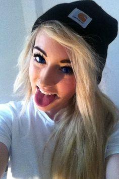 hat swag girl myself piercings beanie ring black blue eyes 2012 smile long  hair teeth blonde hair Tongue carhartt beck nose piercing 7438288d11b