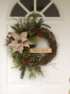 Christmas Wreaths-Holiday Wreath-Rusty Sleigh Bell Wreath-Wooden Sign-Believe Wreath-Rustic Christmas Decor-Wreath for Door-Designer Wreath
