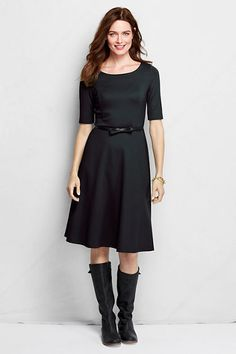 Women's Elbow Sleeve Ponté Boatneck Dress from Lands' End