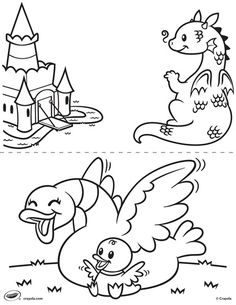 This Adorable Dragon And Duck Coloring Page Is Sure To Be A Hit With Your Kids