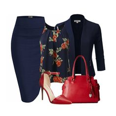 It's a beautiful Monday and we are kicking things off with a navy and red ensemble which includes one of our favourite open front blazer with a navy pencil skirt.We have found a cute little floral printed, pleated chiffon cami top, a London Fog Kingston triple satchel in red and a Nine West Time