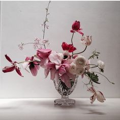 this wedding centerpiece in a silver vessel is made of pink orchids and light pink roses Floral Centerpieces, Floral Arrangements, Floral Wedding, Wedding Flowers, Modern Floral Design, Pink Orchids, Pink Roses, My Flower, Flower Room