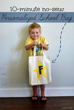 Get your little one excited for preschool by working together to make this cute no-sew preschool bag!