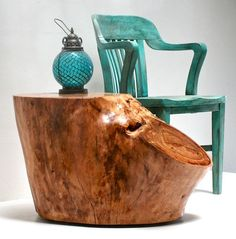 Creative Home Furniture Designs Using Tree Stump End Tables : Agreeable Home Furniture Ideas Using Green Wooden Armchairs And Green Lanterns Also With Brown Tree Stump End Tables Tree Stump Furniture, Tree Stump Table, Handmade Furniture, Home Decor Furniture, Rustic Furniture, Furniture Ideas, Side Coffee Table, Wooden Side Table, Rustic Table