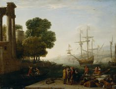 Claude Gellée, A Seaport at Sunset, 1643, Oil on copper panel. Detroit Institute of Arts.