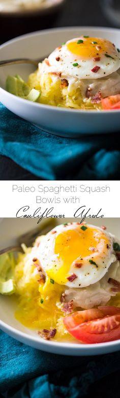 Bacon, Avocado and Tomato Paleo Spaghetti Squash Bowls with Cauliflower Alfredo Sauce - A low carb, healthy meal to please the whole family! | Foodfaithfitness.com | @FoodFaithFit