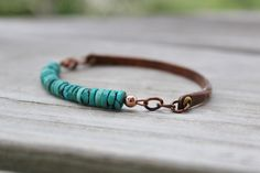 Rustic Turquoise and Antiqued Copper Boho Bracelet via Etsy