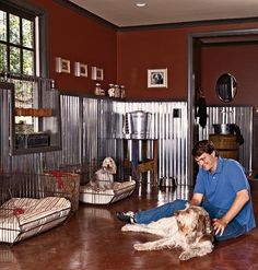 A room for dogs with cement floors and aluminum wainscotting... I should probably just rename the my future home board to my wildest dreams home.