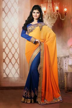 Smart Yellow Saree By The Bollywood Designer