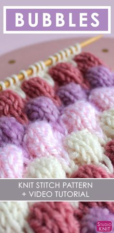 Bubble Knit Stitch Pattern with Easy Free Pattern + Knitting Video Tutorial by Studio Knit. by meandthee Bubble Knit Stitch Pattern with Easy Free Pattern + Knitting Video Tutorial by Studio Knit. by meandthee Knitting Stiches, Knitting Videos, Easy Knitting, Loom Knitting, Knitting Patterns Free, Knitting Projects, Stitch Patterns, Free Pattern, Knit Stitches