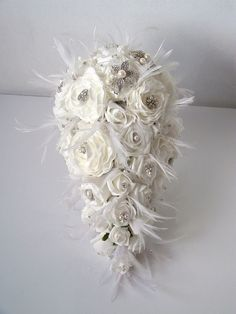 Teardrop Brooch and Feather Bouquet  White by ynasbridal on Etsy, $250.00