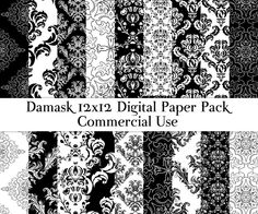 Damask digital paper Black and white damask paper 12x12 scrapbook paper Commercial use DIY Card making Decoupage DigitalCSPrintables 3.20 USD