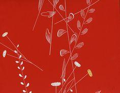 delikates florales muster krftiges rot tapete aus den 1950er jahren aus dem hause erismann - Tapete Rot Muster