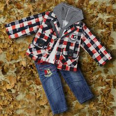 2014 New Spring Infant Clothing Sets 3 PCS For Boys Grid Outfit And Hoodies And Jeans Pants Wholesale Clothes Sets CS30725-7 $71.57