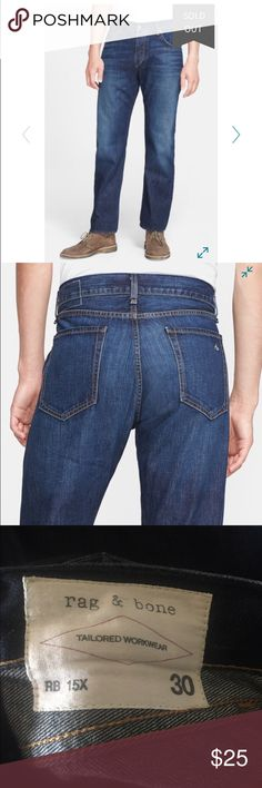 """Rag & Bone RB15X jeans EUC retail $210 Slim-fitting jeans cut from soft, American-made denim in a sleek blue resin wash exudes a subtle coated appearance. 31"""" inseam; 15"""" leg opening; 11"""" front rise; 15 1/2"""" back rise. Button fly closure. Five-pocket style. Cotton; machine wash. Made in the USA. Retail $210 rag & bone Jeans Slim"""