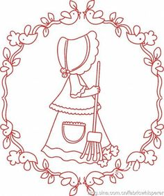 Imágenes RedWork Embroidery Needles, Embroidery Applique, Cross Stitch Embroidery, Embroidery Designs, Types Of Stitches, Sunbonnet Sue, Girls Quilts, Quilted Bag, Applique Patterns