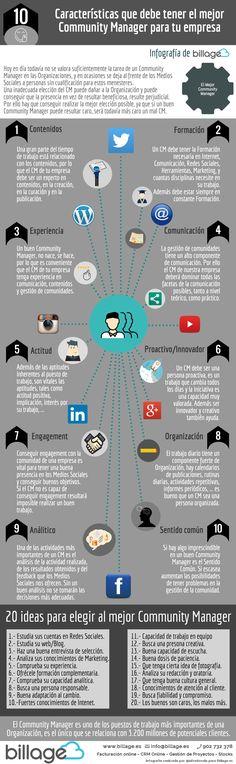 Cómo elegir el mejor #CommunityManager para tu empresa (y 20 ideas) #infografia #socialmedia