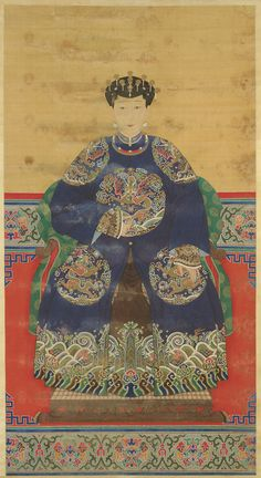 (China) Portrait of a Qing court lady. Chinese Scroll, Chinese Emperor, Tibetan Art, Korean Art, China Art, Creative Pictures, Ancient China, Chinese Culture, Japan Art