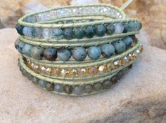 5 Wrap Fern Green Metallic Leather Bracelet With by BraceletsForMe, $45.00