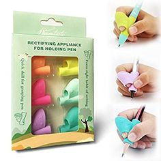 Amazon.com : Pencil Grip, Warmtaste New Design Ergonomic Training Children Pencil Holder Pen Writing Aid Grip Posture Correction Tool 6PCS/Set : Office Products Learning To Write, Learning Centers, Preschool Activities, Teaching Tools, Teaching Kids, Kids Learning, Kids Education, Special Education, Preschool Workbooks